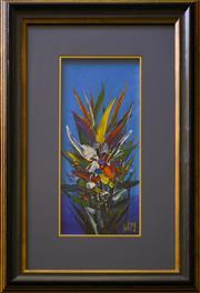 Sale 9080J - Lot 73 - Pro Hart - Floral 41x17cm
