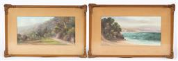 Sale 9170H - Lot 91 - Charles (Chaz) Young, The Devils elbow on the way to Penrith, oil on board, SLR, together with another sea view example