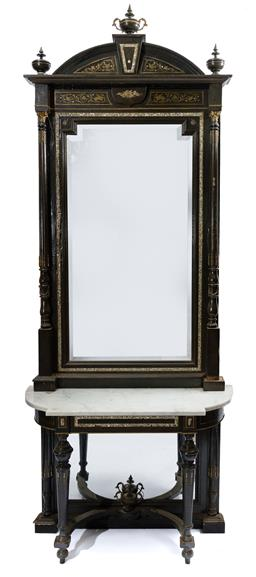 Sale 9200P - Lot 89 - A 19th Century French console with matching mirror, inlaid brass and mother-of -pearl, wear consistent with age, mirror Height 185cm...