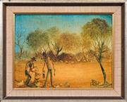 Sale 8420 - Lot 538 - Kevin Charles (Pro) Hart (1928 - 2006) - Shearing the Sheep 23.5 x 32cm