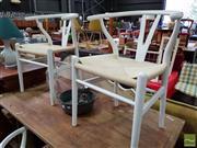 Sale 8542 - Lot 1074 - Set of 4 White Wishbone Chairs