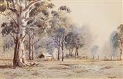 Sale 8592 - Lot 2002 - Victor Robert Watt (1886 - 1970) - Early Morning at the Campsite, 17 x 26cm