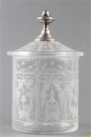 Sale 8594 - Lot 19 - Late Victorian Cut Glass Biscuit Barrel with Dutch Silver Mount