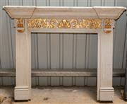 Sale 8677A - Lot 65 - An elaborately painted fire surround in the Continental style, H 130 x W 157 x D 33cm