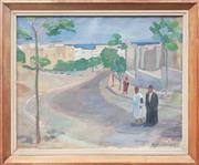 Sale 9053 - Lot 2006 - H. Anderson, Street Scene, Oil, SLR, 25.5x71.5cm