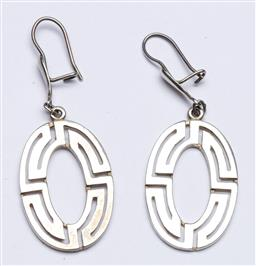 Sale 9156 - Lot 78 - A Duo of Vintage Modernist Sterling Silver Pierced Maze Earrings , Stamped 925, (wt 8.25 grams)