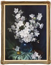 Sale 8316 - Lot 572 - Ernest Buckmaster (1897 - 1968) - Floral Still life 81 x 60.5cm
