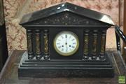 Sale 8345 - Lot 1080 - Late 19th Century French Slate & Marble Mantle Clock, of temple form, with enamelled dial (missing pendulum & bell)