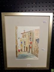 Sale 8645 - Lot 2048 - Artist Unknown - Italian Street Scene, watercolour, 42 x 34.5cm, signed lower right