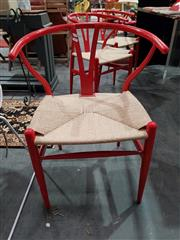Sale 8889 - Lot 1099 - Set of 6 Red Metal Wishbone Chairs