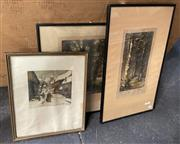 Sale 9004 - Lot 2046 - Group of Antique Etchings by Josef Benesch and Jacques Hervens & Pair of Early Photographs by R S Barrie, plus an Acrylic Still Life...