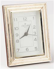 Sale 9080F - Lot 61 - A CHRISTOFLE STAINLESS STEEL MANTE CLOCK.