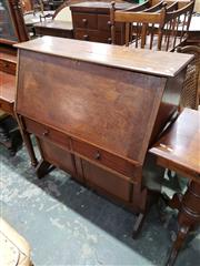 Sale 9048 - Lot 1069 - Arts & Crafts Cedar Bureau, with silky oak & kauri pine secondaries, with fall-front & small hinged flap to top, revealing a pigeon-...