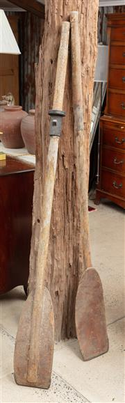 Sale 9060H - Lot 37 - A pair of timber oars Height 171cm