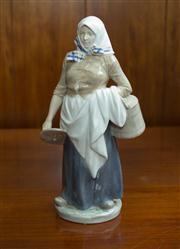 Sale 8313A - Lot 100 - A Royal Copenhagen figure of a milk maid carrying a churn and a milking stool, painted mark 899, height 27cm