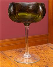 Sale 8625A - Lot 92 - An olive and clear glass stemmed oversized goblet, height 27cm.