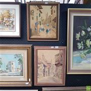 Sale 8640 - Lot 2047 - (2 works) Early C20th watercolours by Jan De Leener Arabic Scene & Shiggiyo European Townscape, each framed and signed lower