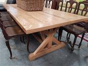 Sale 8669 - Lot 1020 - Natural Oak Dining Table on Stretcher Base (L: 280cm)