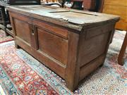 Sale 8774 - Lot 1066 - 17th/ 18th Century Oak Coffer, the hinged top and body panelled