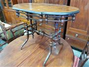 Sale 8814 - Lot 1070 - Late 19th Century French Walnut Occasional Table, with turned gallery, end supports & stretcher. Width: 98 cm