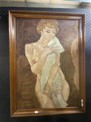 Sale 8927 - Lot 2010 - Hoff, Female Nude, oil on board, 80 x 60 cm, signed -