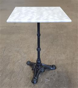 Sale 9191 - Lot 1084 - Marble top table on cast iron base (h:75 x w:50cm2)