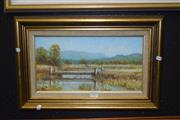 Sale 8419T - Lot 2007 - Robert Edden The Bridge, Nerang QLD, acrylic on board - 20 x 37cm, signed lower left