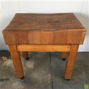 Sale 8649R - Lot 26 - Impressive Butchers Block on Timber Stand with Castors