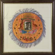 Sale 8994W - Lot 653 - Framed Souvenir Silk Of Australian Military Forces, 1940  (62cm x 62cm)