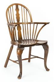 Sale 9015J - Lot 26 - An antique Danish ash and beech wood Windsor chair C: 1900. The hoop back with a shaped centre splat flanked by staves tooutswept ar...