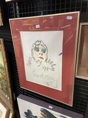 Sale 9041 - Lot 2042 - Lindsay Kemp Self Portrait/ Autograph  pastel on paper 54 x 43cm (frame) signed lower centre -