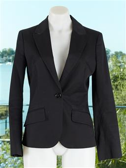 Sale 9120K - Lot 25 - A Burberry London womens black suit jacket; with checkered lining to interior, size UK 8