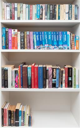 Sale 9134H - Lot 20 - Four shelves of books to include travel guides and hardbacks
