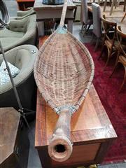 Sale 8912 - Lot 1022 - Large Cane Boat Form Basket