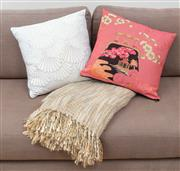Sale 9070H - Lot 43 - Two cushions together with a throw