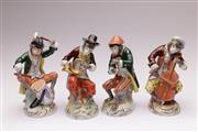 Sale 9070 - Lot 55 - Set of four Dresden Monkey band figurines (H14cm)