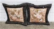 Sale 9080 - Lot 1040 - A pair of oriental padded cushions with chrysanthemum flower and bird on a peach background