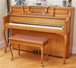Sale 9098H - Lot 96 - A Yamaha french provincial cherrywood upright piano in very good order with matching stool and sundry piano music. H 107 x W 153 x D...