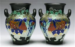 Sale 9138 - Lot 28 - A Pair of Gouda Vases, Signed Regina to Base (H:18.5cm)