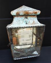 Sale 8312A - Lot 74 - A vintage weathered copper wall lantern (unwired), height 37 cm