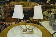 Sale 8390 - Lot 1271A - Twin Shade Table Lamp on Metal Base