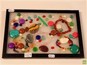 Sale 8582 - Lot 2374 - Glasstop Cabinet Cab Cut Stones