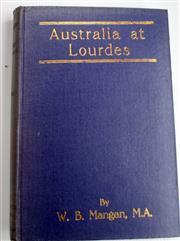 Sale 8639 - Lot 31 - Australia at Lourdes, by W B Mangan (ex Chaplain AIF), published by Tribune Publishing Co North Melbourne 1921.