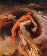 Sale 8652 - Lot 535 - James Gleeson (1915 - 2018) - Figure in a Psychoscape (Series B, No.2, 1975) 14.5 x 12.5cm