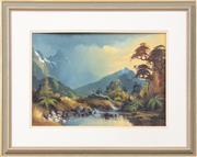 Sale 9070H - Lot 45 - Neil Bartlet NZ School - Lake scape 35cm x 49cm