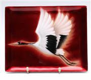 Sale 9090 - Lot 72 - An Enamelled Dish with Bird Motif (18cm x 23cm)