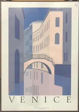 Sale 9103 - Lot 2071 - 80s silkscreen poster of Venice by Perry King, 91 x 65cm (frame)