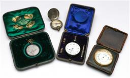 Sale 9173 - Lot 12 - A J & Hammon compass together with another, A cased pocket watch and a cased stop watch