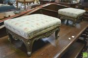 Sale 8390 - Lot 1008 - Pair Victorian Carved and Gilt Footstools, with padded tops in the Rococco style.