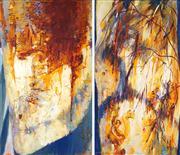 Sale 8549 - Lot 536 - Frank Hodgkinson (1919 - 2001) - Angophera Totems I & II (diptych) 153 x 84cm; 153 x 92.5cm